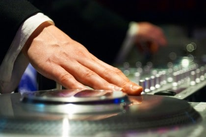 Wedding DJ Spinning Tunes